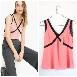 NWT J. Crew size 2 vneck lace camisole in pink🌸